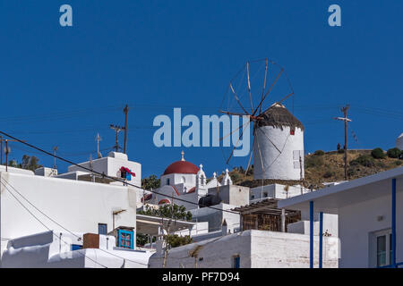 White windmill in town of Mykonos,  Cyclades, Greece - Stock Photo