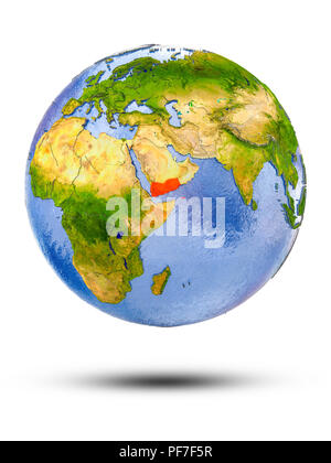 Yemen on globe with shadow isolated on white background. 3D illustration. - Stock Photo