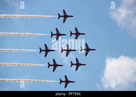 RAF Red Arrows Aerobatic Display. Biggin Hill Air Show 2018 - Stock Photo