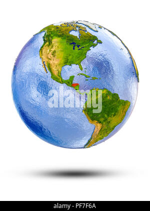 Honduras on globe with shadow isolated on white background. 3D illustration. - Stock Photo