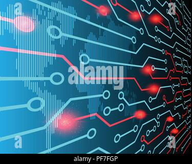World map line perspective view Cyber attack by hacker concept background. vector illustration eps10 - Stock Photo