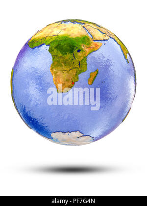 Swaziland on globe with shadow isolated on white background. 3D illustration. - Stock Photo