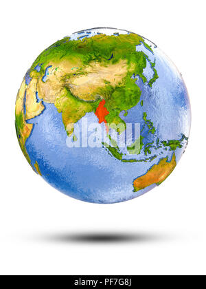 Myanmar on globe with shadow isolated on white background. 3D illustration. - Stock Photo