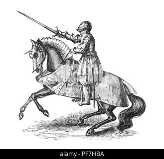 Armour during the reign of Henry VIII continued to be notable for its increasing decoration and armourers offered a large assortment of styles for a knight to choose from. The illustration shows a mounted knight with lamboys, plates of steel that imitated folds of drapery were used and cut to fit into the saddle and offer lower body protection. - Stock Photo