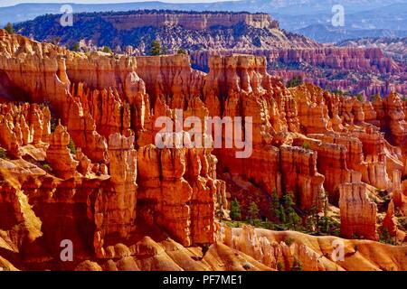 Scenic view of Hoodoos and rock spires from Rim Trail at Bryce Canyon - Stock Photo
