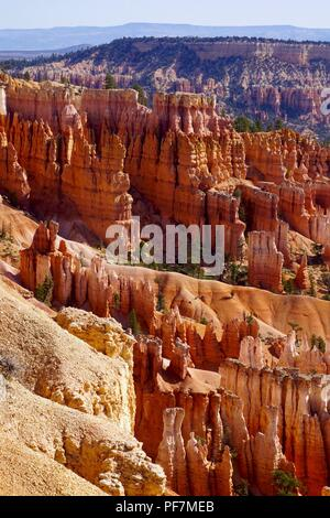 Vertical shot of red rock formations in Bryce Canyon National Park - Stock Photo