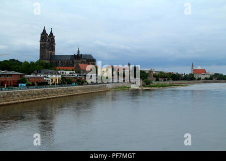 Magdeburg and Elbe river. Germany. - Stock Photo