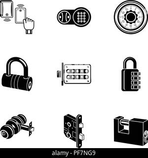 Complex lock icons set, simple style - Stock Photo