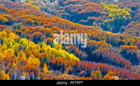 An original photograph of a Rocky Mountain autumn scene has been digitally enhanced to create this vibrant painterly artwork. - Stock Photo