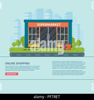Vector flat design restaurants exterior and shops facade:  supermarket. Store front window buildings icon with city on the background. - Stock Photo