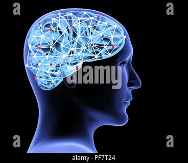 Transparent head of man and neural network of brain with a problematic areas. Isolated on black background. 3d render - Stock Photo