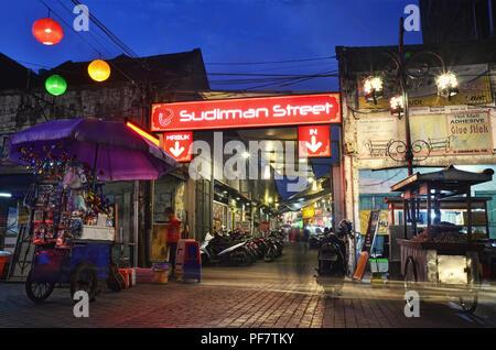 Sudirman Street, a culinary street/area in Bandung - Stock Photo