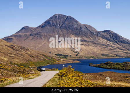 Cul Beag and Loch Lurgainn seen from the scenic road to Achiltibuie, Coigach, Wester Ross, Scottish Highlands, Scotland UK - Stock Photo