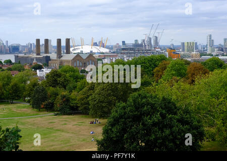 View of London from the Royal Observatory Greenwich, London Uk - Stock Photo