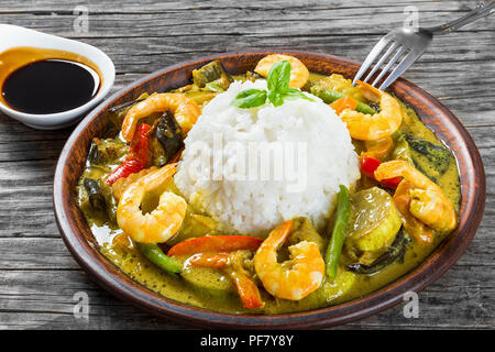 vegetarian curry,  rice , coconut, ginger and soy sauce top view - Stock Photo