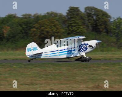 PRIBRAM, CZE - AUGUST 18, 2018: Airplane Christen Eagle II landing at airport Pribram. CZECH REPUBLIC - Stock Photo