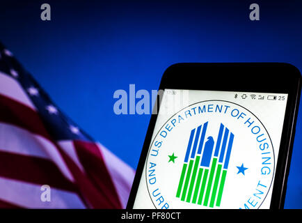 Seal of United States Department of Housing and Urban Development seen displayed on a smart phone. - Stock Photo