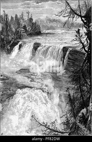 Black and white vintage print depicting a man crouched on a ledge in the foreground, looking over a panoramic view from the east bank of Trenton Falls, a waterfall located on West Canada Creek in Trenton, New York, USA, published in William Cullen Bryant's edited volume 'Picturesque America; or, The Land We Live In', 1872. Courtesy Internet Archive. () - Stock Photo