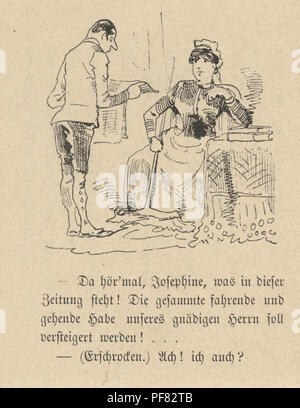 Vintage engraving of a Victorian Cartoon of a couple reading the newspaper, 1880s, German - Stock Photo