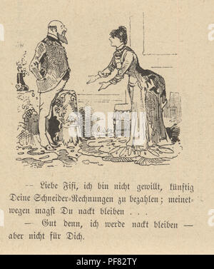 Vintage engraving of a Cartoon of a couple arguing at home, 1880s, German - Stock Photo