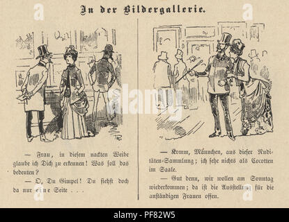 Vintage engraving of Victorian cartoon of a couple visiting the Art Gallery, 1880s, German - Stock Photo