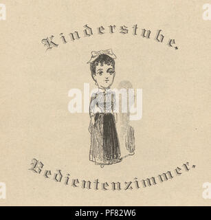 Vintage engraving of a Victorian cartoon of a caricarture of a woman, 1880s, German - Stock Photo