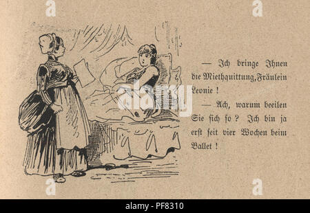 Vintage engraving of a Victorian Cartoon of a young woman being woken by her maid 1880s, German - Stock Photo