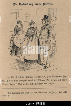 Vintage engraving of a Victorian Cartoon of The indignation of a mother, 1880s, German - Stock Photo