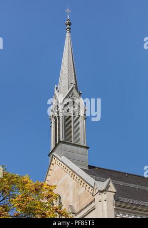 Zurich, Switzerland - September 27, 2017: tower of the Equippers Friedenskirche church in Zurich. The Equippers Friedenskirche church was established  - Stock Photo