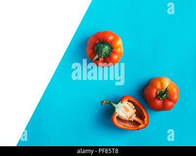 Pepper Top view Sweet chopped red pepper is lying on a two-tone background Photo template with copy space - Stock Photo