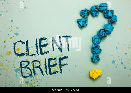 Handwriting text Client Brief. Concept meaning A documents bounded by the terms of clients and the agency Crumpled papers forming question mark severa - Stock Photo