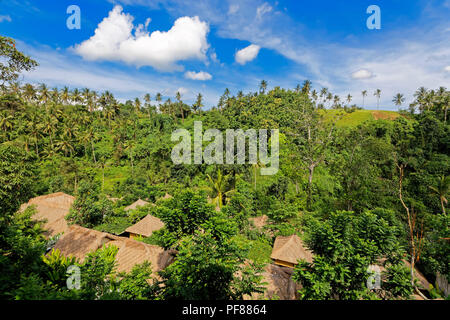Resort Roofs in the Sayan River Valley, Ubud, Bali - Stock Photo