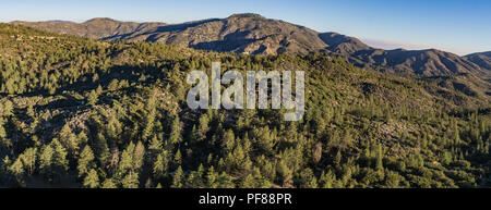 Panoramic view of mountains covered by forest in the southern part of California. - Stock Photo