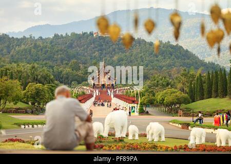 Thailand temple Royal Flora Ratchaphreuk, Chiang Mai - Stock Photo