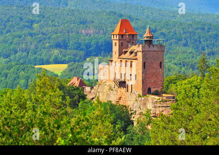 castle Berwartstein in Dahn Rockland, Germany - Stock Photo