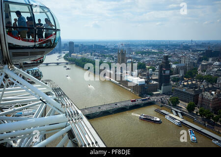 London / UK - July 26th 2018: The view of London looking across the Thames from the London Eye on the South Bank - Stock Photo