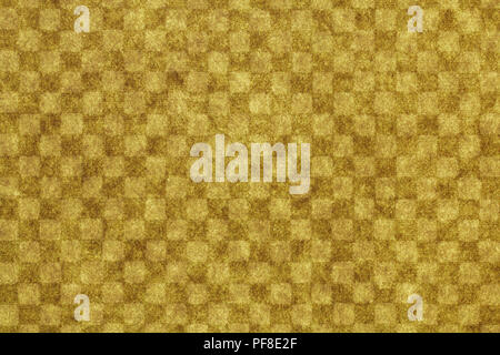 Japanese yellow checkered pattern paper texture or vintage background - Stock Photo