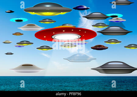 Digitally enhanced image Of Alien invasion. Flying saucers floating over the ocean. The chances of anything coming from Mars are a million to one. But - Stock Photo