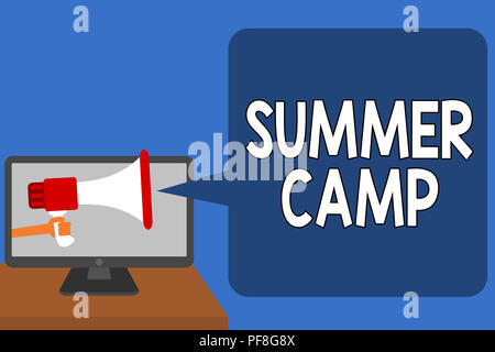 Handwriting text Summer Camp. Concept meaning Supervised program for kids and teenagers during summertime. Man holding Megaphone loudspeaker computer  - Stock Photo