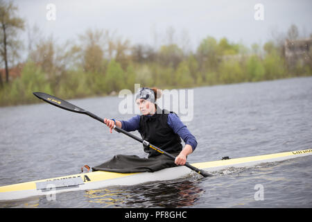 Belarus, Gomel, 25 April 2018. Rowing base. Training in rowing. - Stock Photo