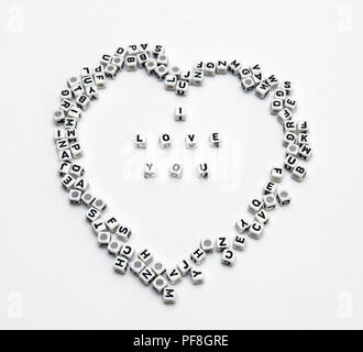 Message I love you spelled in  dice with copy space - Stock Photo