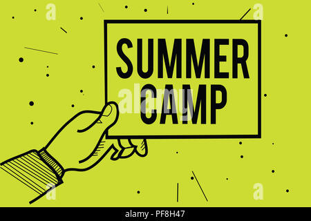 Handwriting text Summer Camp. Concept meaning Supervised program for kids and teenagers during summertime. Man hand holding paper communicating inform - Stock Photo