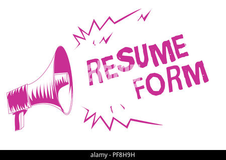 Word writing text Resume Form. Business concept for describe the layout elements appearing in written document Purple megaphone loudspeaker important  - Stock Photo