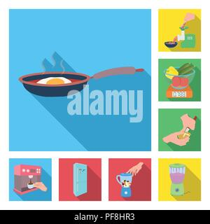 Cooking food flat icons in set collection for design. Kitchen, equipment and tools vector symbol stock  illustration. - Stock Photo