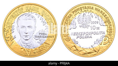 Polish coin: Krzysztof Kamil Baczynski (1921-1944) Polish poet and Armia Krajowa (Polish Home Army) soldier, on a Polish coin commemorating 65th anniv - Stock Photo