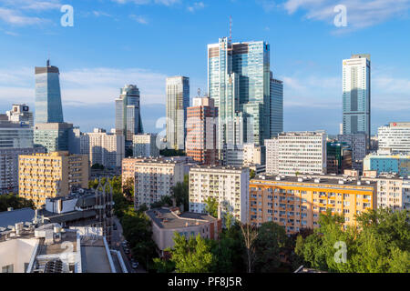View of downtown skyline and financial district from the Holiday Inn Warsaw City Centre, Warsaw, Poland - Stock Photo
