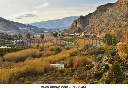 Rio Andarax dry riverbed valley with agricultural crops between Sierra Nevada and Sierra de los Filabres mountains, Almeria Southern Spain Europe. - Stock Photo