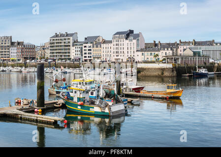 Cherbourg-Octeville, France - May 22, 2017: Fishing boats docked in the port of Cherbourg-Octeville, on the north of the Cotentin peninsula, France. - Stock Photo