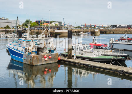 Cherbourg-Octeville, France - May 22, 2017: Boats in the port of Cherbourg-Octeville, on the north of the Cotentin peninsula, Cherbourg harbour is the - Stock Photo