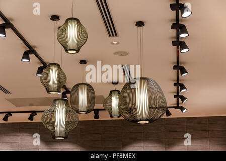 Decorating hanging lantern lamps in wooden wicker made from bamboo lighting lamp for home decor. - Stock Photo